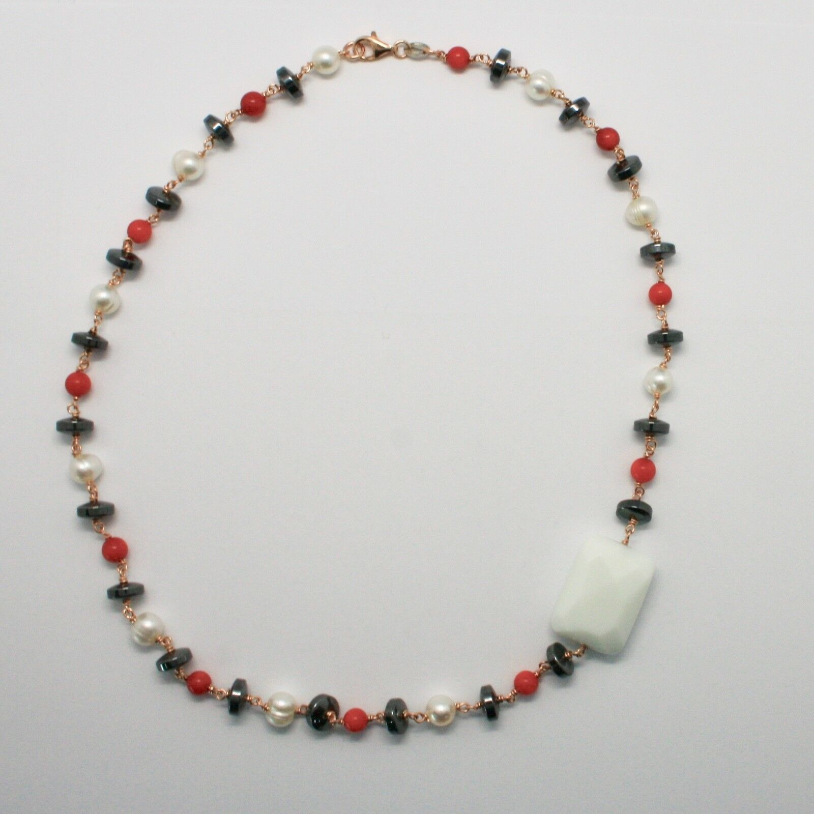 925 STERLING SILVER NECKLACE WITH RED CORAL BAMBOO PEARLS FW AND HEMATITE