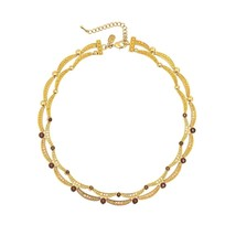 Cristalina 18K Gold Plated Cognac Crystal Swag Necklace of 45cm - $2.361,49 MXN