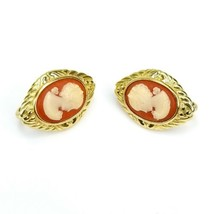 Vintage Crown Trifari Signed Goldtone Cameo Woman Oval Clip On Earrings - $24.24
