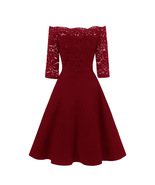 Short Homecoming Dress Burgundy Lace Women Gowns 16 Graduation Gowns Hal... - $50.00