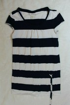 Limited Too Girls Tunic Top Size 10 Blue White Stripe Jersey Knit Drop W... - $17.41