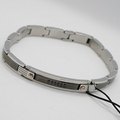 STAINLESS STEEL ZANCAN BRACELET, BICOLOR STRIPED WITH BLACK CUBIC ZIRCONIA