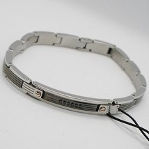 STAINLESS STEEL ZANCAN BRACELET, BICOLOR STRIPED WITH BLACK CUBIC ZIRCONIA image 1