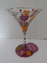 Lolita The Martini Collection Love Recipe on Bottom Hand Painted Glass H... - $14.36