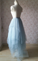 Grace High Low Tiered Tulle Skirt Wedding Bridal Tier Tulle Outfit, Dusty Blue image 4