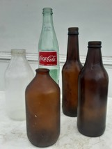 Lot Of 5 Vintage Beer, Budweiser, Gatorade, Mexican Coke Bottles 1950s -... - $9.90