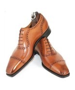 Men's Tan Leather Oxford Men Oxford Cap Toe Lace-up Leather Shoes Made ... - $149.99+