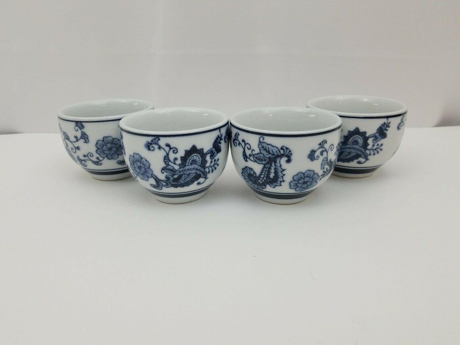 Pier 1 Imports Porcelain Tea Cups Sake Set of 4 White Blue Floral Dish Safe image 12