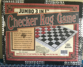 NEW Jumbo 3 in 1 Checkers Rug Game Tic Tac Toe (Made in the USA) - $15.19