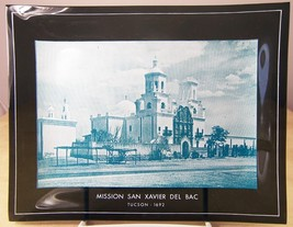 Vintage Smoked GLASS DISH with PHOTO of SAN XAVIER DEL BAC MISSION Tucson - $12.35
