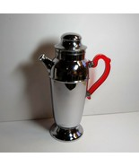 Vintage Chrome Cocktail Shaker With Red Translucent Bakelite Handle & Bo... - $44.55