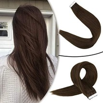 RUNATURE 16inch Dark Brown Hair Extensions Tape in Human Hair Naturally Colored