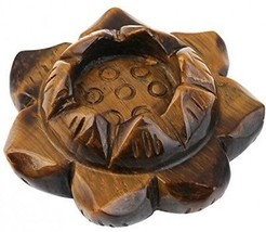 Rockcloud 2 Healing Crystals Tiger's Eye Lotus Flower Crystal Ball Stand/Taper - $35.41