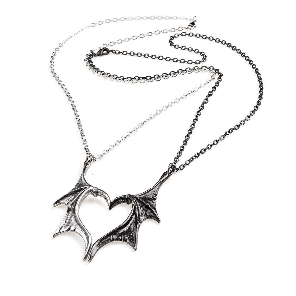 Darkling Heart Two Dragon Wings Halves of a Heart Necklaces Alchemy Gothic P851