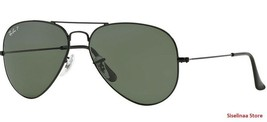 New Genuine Ray Ban 3025 002/58 Black Classic Aviator Sunglasses Green L... - $113.89