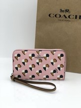 NWT Coach F25963 Zip Around Phone Wallet Wristlet Canvas Heart Blush Multi $165 - $59.95