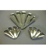 Jewelry Brooch Clip On Earrings Fan Designs Acrylic Plastic Mirror Look ... - $15.99