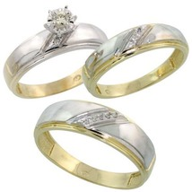 14k Gold Fn Sterling Silver Diamond His & Hers Trio Engagement Wedding Ring Set - $149.81
