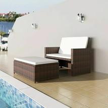 vidaXL 5 Piece Garden Sofa Set Poly Rattan Wicker Brown Outdoor 2 Seater... - $202.99