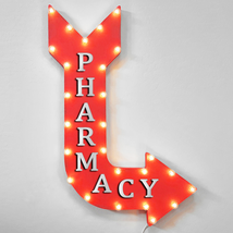 """36"""" PHARMACY Curved Arrow Sign Light Up Metal Marquee Vintage Meds Docto... - $155.93"""