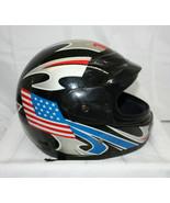 Vintage Helmet ~ USA Flag Design ~ Size L (59-60 cm) ~ DOT Approved (Black) - $13.66