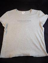 Womens Calvin Klein Cotton Blend Shirt Size Large Round Neck Cap Sleeve Grey - $11.87
