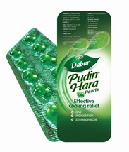 5 x Dabur Pudin Hara 10 Caps Pearls Effective Cooling Relief Gas Stomach... - $5.90