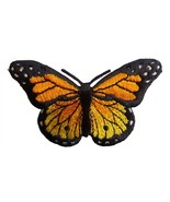 Large Monarch Orange Butterfly Embroidered Iron On Applique - $4.90