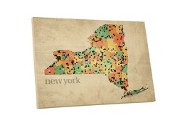 """Pingo World 0718QN9CE84 """"New York State Mosaic Map"""" Gallery Wrapped Canvas Wall  - $43.51"""