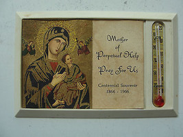 Religious thermometer, plastic, small, old, Mother of Perpetual Help, 1966 - $26.55