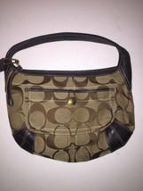 COACH M0632-10764 Ergo Hobo Handbag Leather Canvas Khaki Brown Purse-Sta... - $14.84