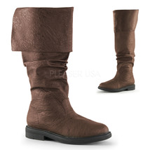 PIR100//B//PU Men Black Medieval Renaissance Pirate Halloween Costume Knee Boots