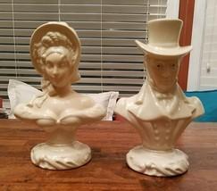 Man  & Woman Bust Ceramic Ivory Victorian Shabby Chic Pair - $24.27