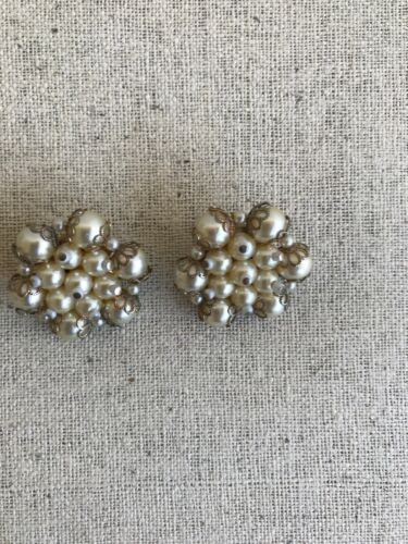 Lot 3 Vintage Earrings Clip On Tara Unmarked Faux Pearl Rhinestone