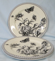 Charter Club Tuilleries Cream Floral Butterfly Salad Plate set of 3 - $55.33