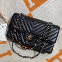 100% AUTH Chanel RARE Black Caviar Chevron Quilted Medium Double Flap Bag SHW