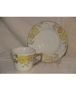 VINTAGE=Two Coffee CUPS & SAUCERS CAMEO FLORALS MALAYSIA-YELLOW BROWN-GR... - $9.89