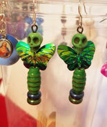 green sugar skull fairy earrings dangles goth day of the dead halloween ... - $6.99