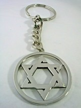 JEWISH STAR KEY CHAIN WITH FRAME AND A HIGH POLISHED FINISH IN  STAINLES... - $23.33