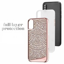 iPhone X ?S Case TPU Mil Grade Rugged Metalic Buttons Crystals Pearls Wh... - $82.71
