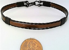Brown Anodized Aluminum Black Copper Wire Wrap Bracelet 7 - $13.00