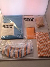 Party Decor Kit Blue Orange Cupcake Wraps Striped Straws Spoons Dress My... - €8,94 EUR