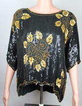 Vintage Royal Feelings women's silk top blouse black gold sequin beaded ... - $23.99