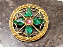 PRETTY FANCY OPEN WORK GREEN RHINESTONES AND PINK ACCENT VINTAGE PIN BROOCH - $18.00