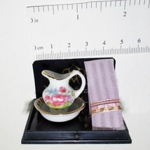 Dollhouse Dresden Rose Wash Bowl w/ Pitcher & PINK Damask Towel Reutter Miniatur - $16.90