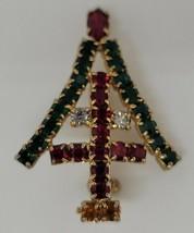 Vintage rhinestone Christmas Tree w/ Cross of St. Peter brooch pin - $34.16
