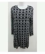 Love Appella Womens Medium Petite Dress Black White Geometric Long Sleev... - $16.99
