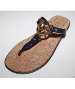 Michael Kors NWOT Womens Navy Bue Flip Flop Charm Jelly Sandals Cork - $82.07