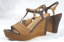 Ugg Fitchie Platform Wedge T-Strap Sandal 9.5 M Leather & Tooled Jute Shoes - $733,86 MXN