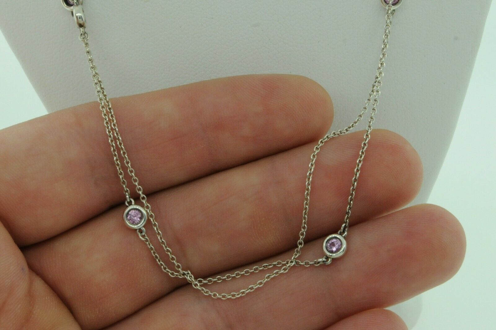 """TIFFANY & CO. Sterling Silver Pink Sapphire Color by The Yard Heart Pendant 33"""""""